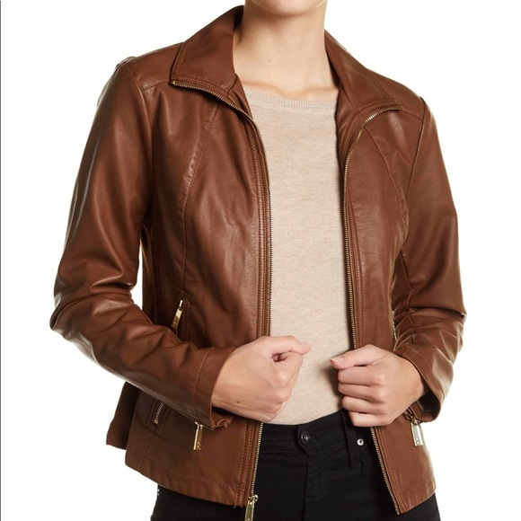 1866ba5bd Kenneth Cole Reaction Faux Leather Moto Jacket